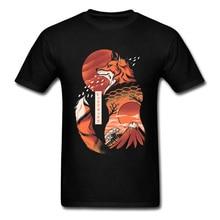 Japanese Fox Hokusai Wave Fuji Mount Sunset Classic Tshirts Art Design Mountain Sakura Landscape Men T Shirt Print Black Great