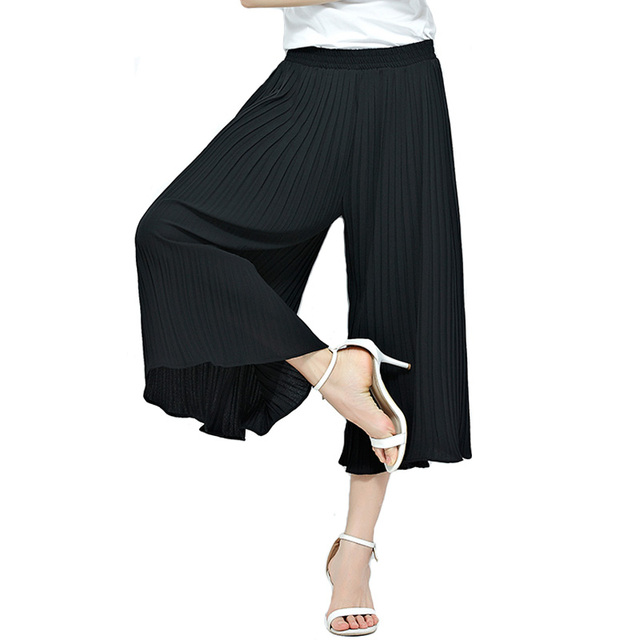 30f3325ec725b Fashion Black Wide Leg Pants Women Summer Calf Length Pleated Pants Capris  Casual Loose Trousers Harem Pants For Women Plus Size