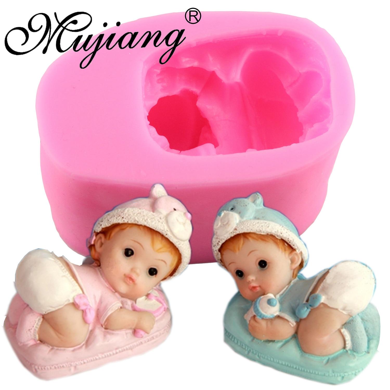 Mujiang Baby Boy Girl Making Candy šokolādes Fondant Silikona veidnes puse Cake Dekorēšanas rīki 3D amatniecības māla ziepes sveču veidnes