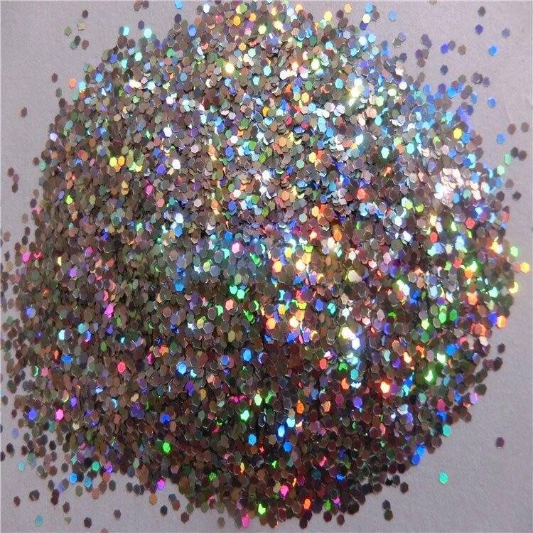 1mm 1 24 holographic laser silver color glitter hexagon for Paillette decoration