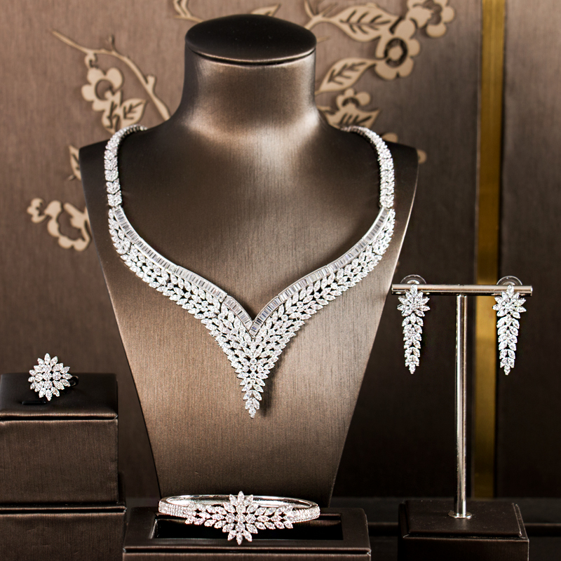 LAN PALACE Simple style luxury copper alloy 5A cubic zirconia jewellery set earrings necklace ring bracelet free shipping