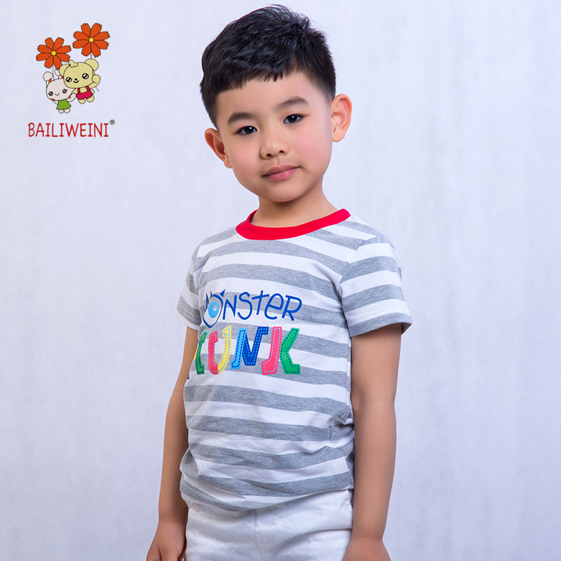 BAILIWEINI2019 Summer New Boys Short Sleeve Tops Multicolor Striped Animal T Shirt Cotton Top T shirt Pullover in T Shirts from Mother Kids
