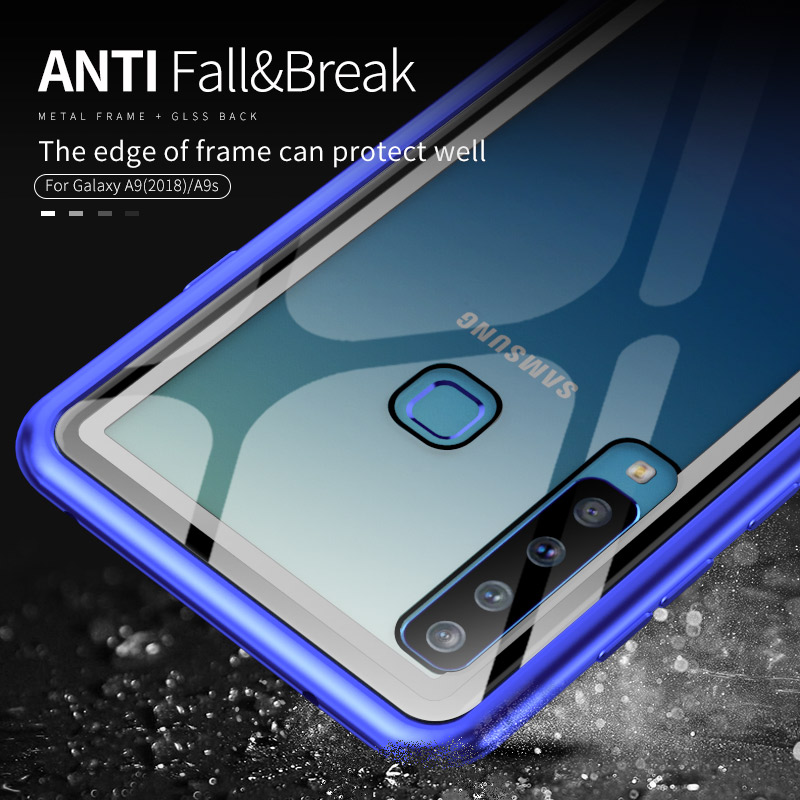 Luxury Aluminum Metal Bumper Case For Samsung Galaxy A8 2019 A9S Transparent Tempered Glass Back Cover For Samsung A9 2018 A920 in Fitted Cases from Cellphones Telecommunications