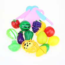 цена на 18Pcs/Set Plastic Fruit Vegetables Cutting Toy Early Development and Education Toy for Baby kids Kitchen toys Plastic food toy
