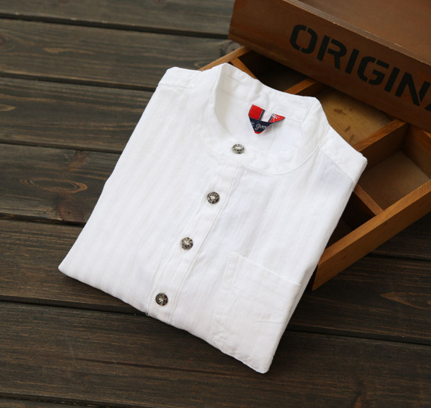 d4090c2963c 2018 Casual Boys Shirts Baby Children Cotton Short Sleeve Blouse for Summer  Kids Boys White Shirt Stand Collar Handsome Tops-in Blouses   Shirts from  Mother ...