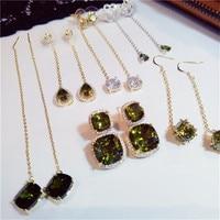 Vintage Olive Green Drop Earrings For Women S925 Sterling Silver 14K Gold Long Ear Line Luxury