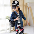 2017 new spring and autumn fashion jeans fashion suit for children three