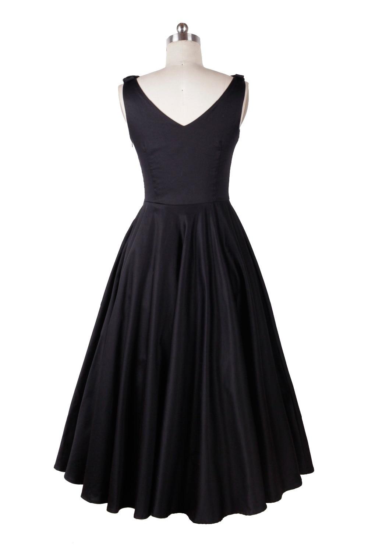 Audrey hepburn stile vintage 50 s 60 s abiti little black tea lunghezza elegante vestito casuale abbigliamento donna spedizione gratuita - 3