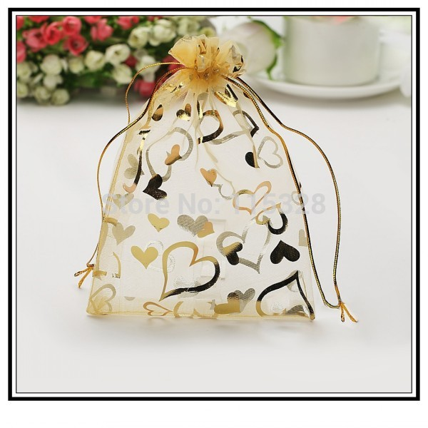 Hot Sale 7x9cm 100pcs/lot Golden Heart Christmas Wedding Gift Candy Bags Organza Drawstring Bags Jewelry Packing Gift Pouches