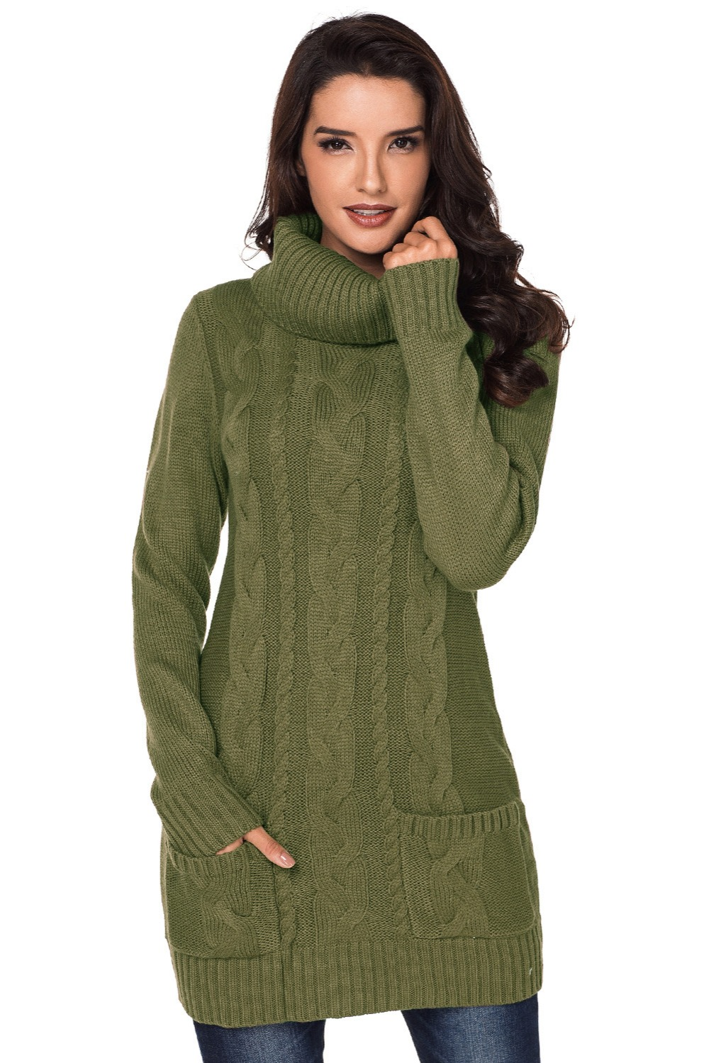 Olive-Cowl-Neck-Cable-Knit-Sweater-Dress-LC27836-9-1