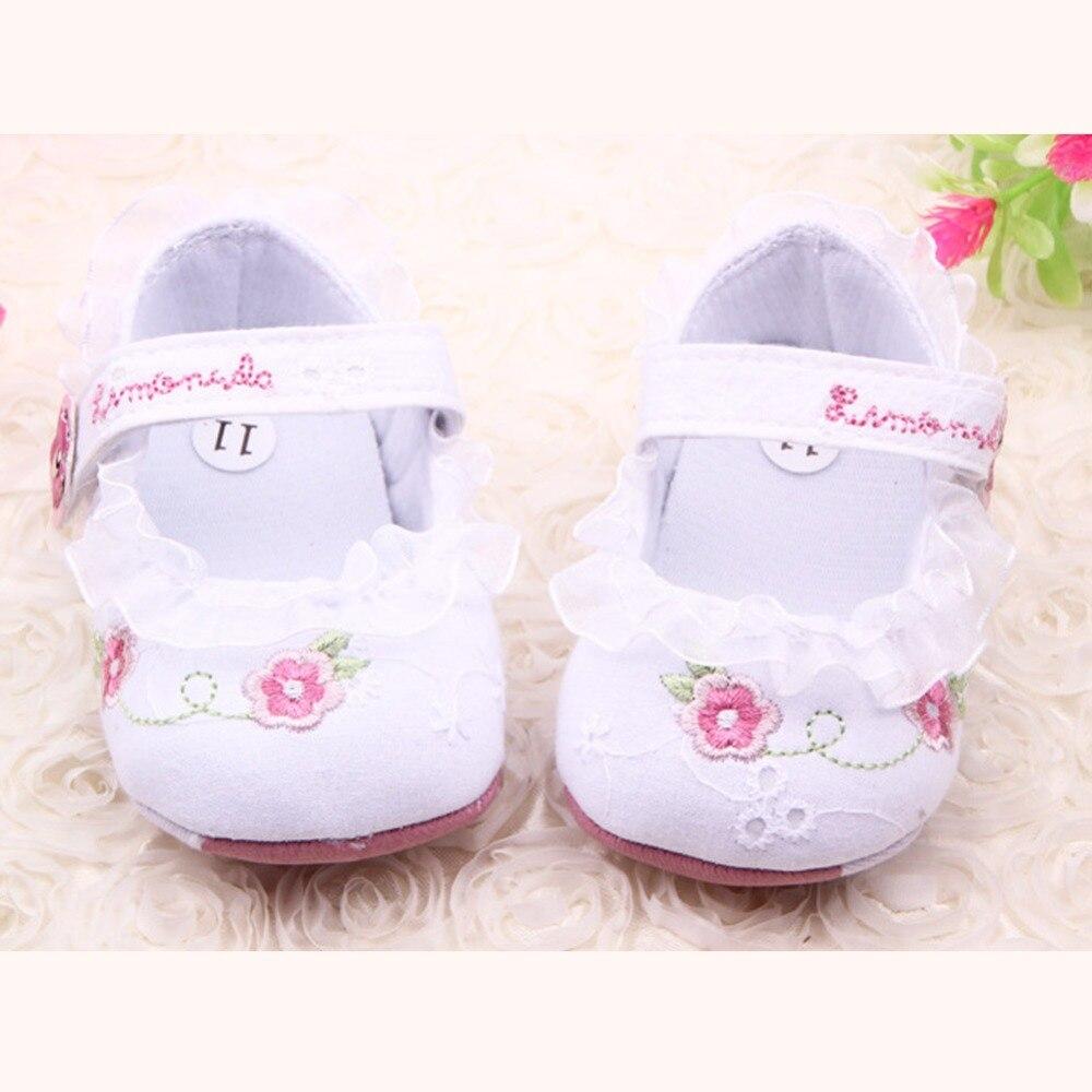 Sweet Baby Girl Crib Shoes Flower Ruffled Soft Sole
