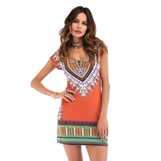 570ea4e19f2 2018 Fashion Ethnic Floral Printing Sundress Women Tight Party Summer Beach  Dress Sexy Clothing Boho Bohemian