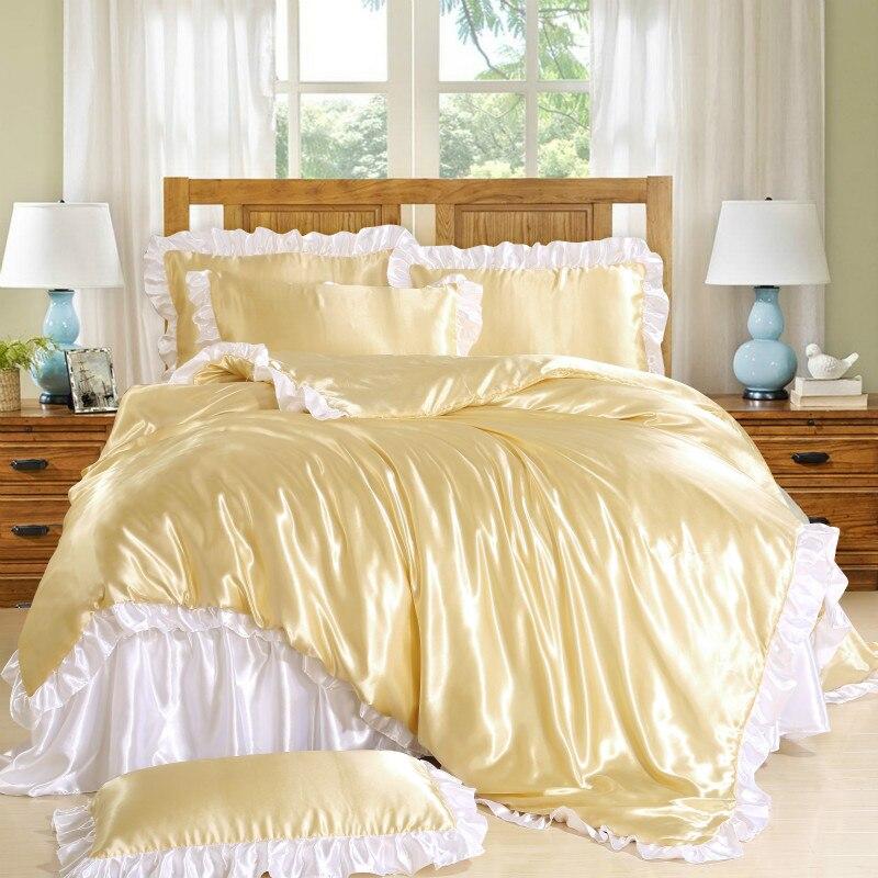 6 colores de lujo princesa Palacio cama venta al por mayor precio satén seda Rosa oro blanco sábana edredón juegos 50% de descuento-in Juegos de ropa de cama from Hogar y Mascotas    1