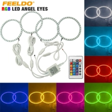 4X 120mm Car 5050 SMD RGB Flash LED Angel Eyes Halo Ring Daytime Running Light For BMW E30/E32/E34 #FD-4409