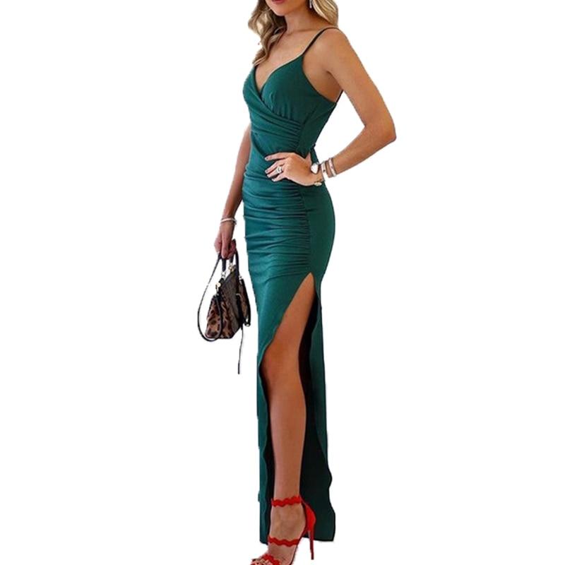 2019 Dress For Women Side Split Deep V Sling Party Dress for Spring Summer WML99