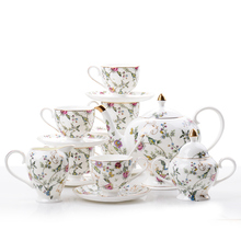 Guci 21 pieces English Afternoon Tea Set European Bone Porcelain Coffee Cup and Plate Wedding Ceramic Household