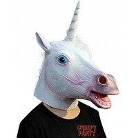 Halloween Necessaries Halloween Mask White Unicorn Horse Mask Halloween Cosplay Costume Novelty Full Head Face Latex
