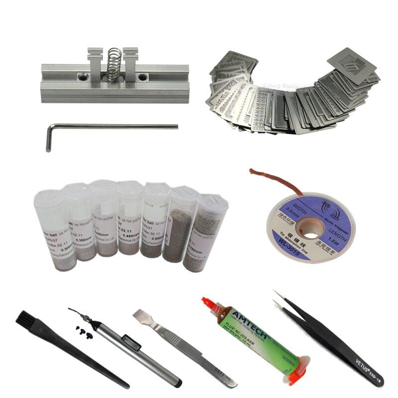 29 pcs Aquecimento Diretamente Stencils Calor + 90 milímetros Titular + Caneta De Sucção A Vácuo Pinças BGA Reballing Flux de Esferas de Solda kit Para Reparo