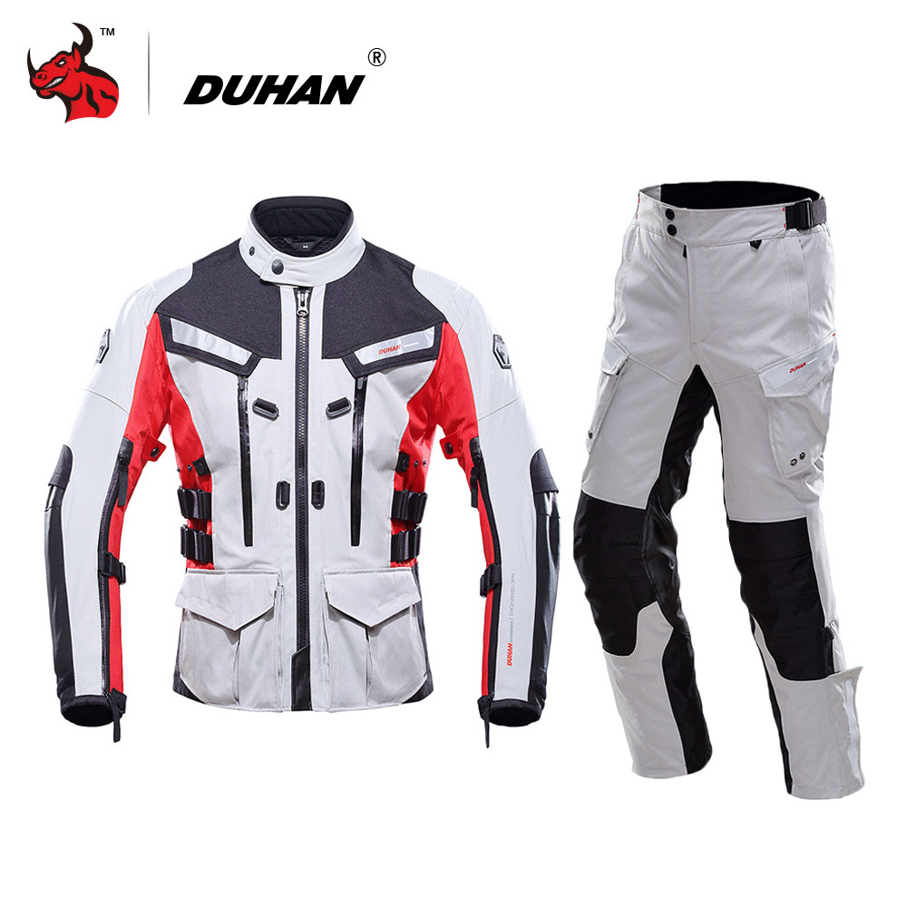 DUHAN Motorcycle Jacket Waterproof Moto Jacket Men s Motocross Clothing Motorcycle Suit With Elbow Shoulder Back