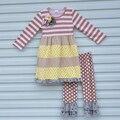 Outono Inverno Bebê Roupas Boutique Vestidos de Primavera de Algodão Leggings Tarja Geométrica Teste Padrão de Pontos Crianças Roupas para Meninas Define F081