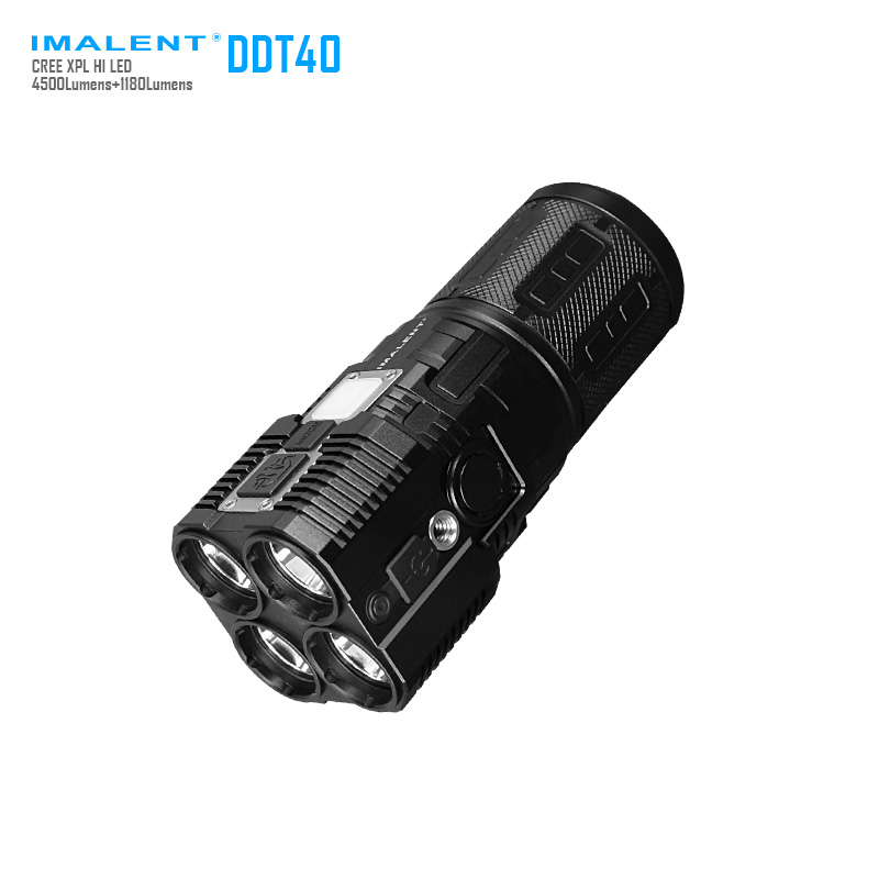 IMALENT DDT40 Cree XM L2 LED Intelligence Touch Led Tactical Flashlight with 5180LM Self Defense by 4PCS 18650 Battery new imalent ddt40 oled intelligence touch cree xpl hi led searchlight 4500 lumens flashlight with 4 2600mah 18650 batteries