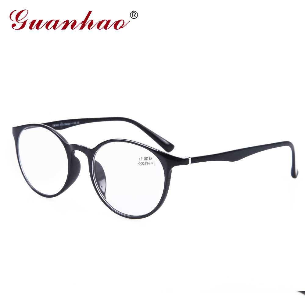 GuanHao Big Round Men Women Transparent Glasses Clear Ultralight TR90 Spectacle Frame Acetate Temples Reading Glasses 1.5