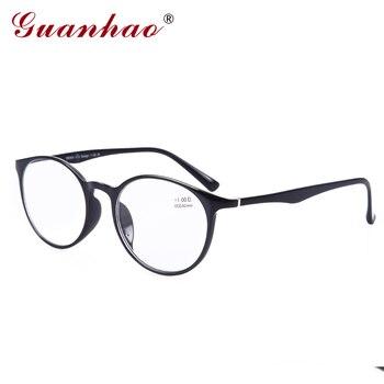 GuanHao Big Rodada Homens Mulheres Vidros Transparentes Claro Ultraleve TR90 Espetáculo Quadro Templos De Acetato de Óculos de Leitura 1.5