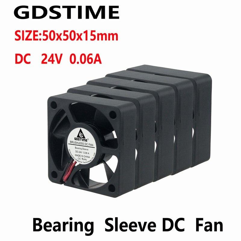 Gdstime 10 Pcs 24V 50x50x15mm DC Blushless Cooling Fan 50mm X 15mm 5015 Motor Cooler 50mmx50mm Silent