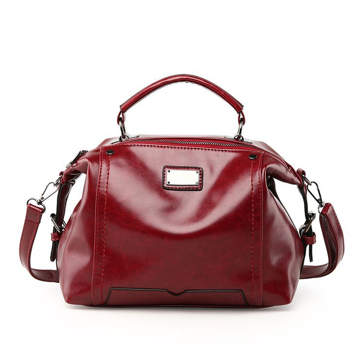 WITFLASH Fashion Women Handbag Oil Wax Leather Big Bag Handbag Simple Style Red Solid Color PU Leather Shoulder Bag safebet brand 2018 new fashion cool style real leather handbag wholesale oil wax leather slanting shoulder bag women s handbag