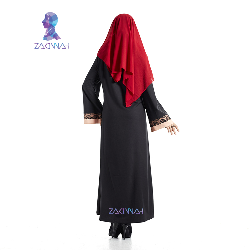 Haute Qualité Dentelle Noire Abaya Robe Musulmane Pour Femmes - Vêtements nationaux - Photo 5