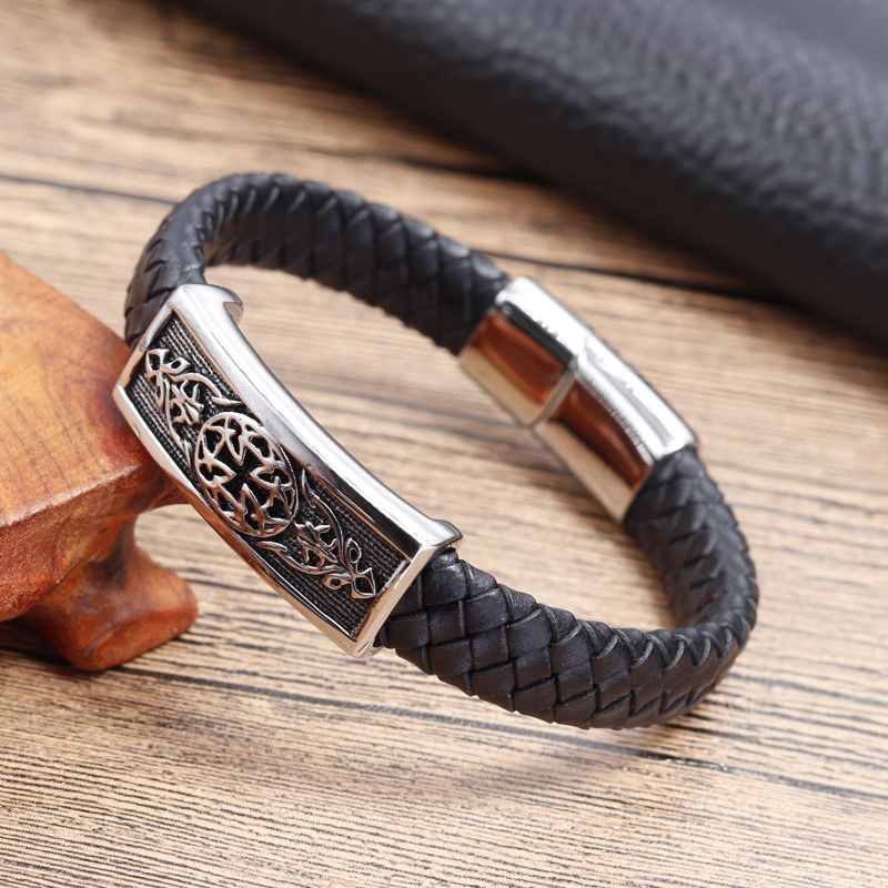 Punk Black Braided Genuine Leather Bracelet Male Stainless Steel Bangle For Men Jewelry Vintage Charm Magnetic Buckle