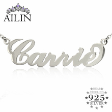 Personalized Name Necklace Sterling Silver Initials Necklace 10 kinds Typefaces Customized Necklace Great Christmas Gift