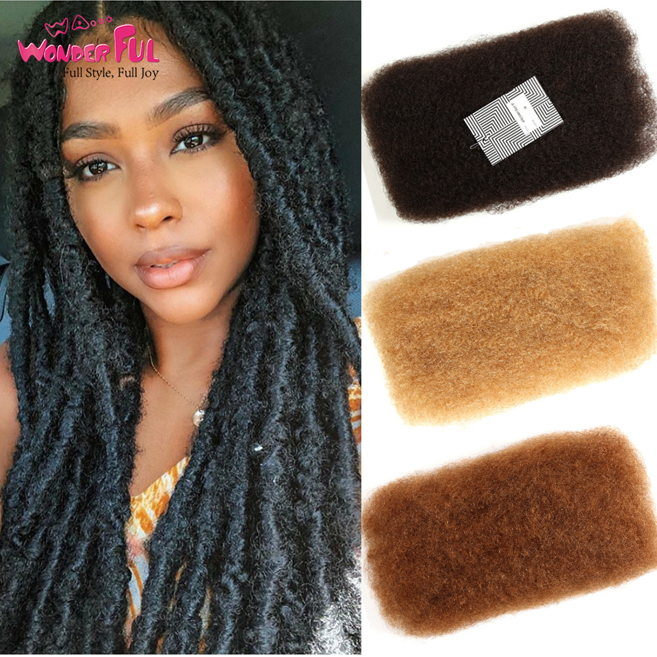 Brazilian Afro Kinky Bulk Hair 100% Remy Human Hair For Braiding  No Weft  50g/Pc Natural Color , #1B,#2#4#30 #27#99J  Fast Ship