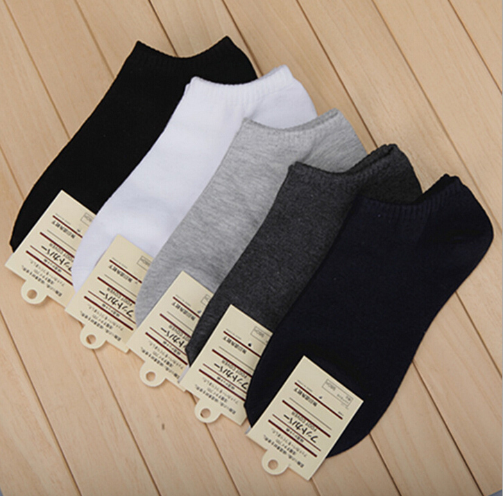 Hot Sale 10 pairs Men's short boat socks brand high quality polyester breathable casual 3 Pure Color sock for men free shipping