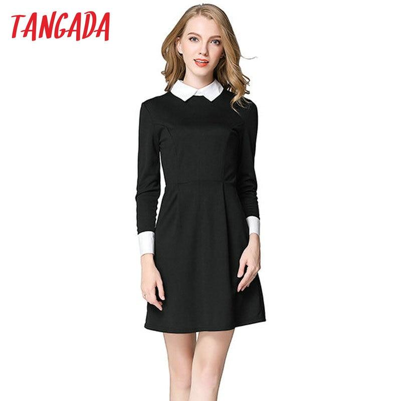 Tangada Winter School Dresses Fashion Women Office Black Dress With White Collar Casual Slim Vintage Brand Vestidos 2019