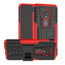For Motorola Moto G7 / Moto G7 Plus XT1965 XT1962 Case 2 In 1 Tire Patterned Anti Drop Hard Armor Case Cover With Back Kickstand