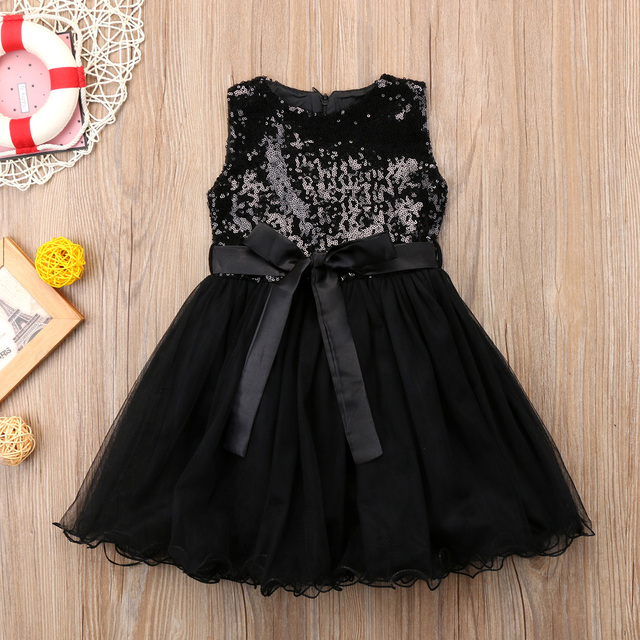 Black Sequins Princess Girls Dress Kid baby Girl Tulle Wedding Evening  Party Dresses Child Prom dress New Year costumes for girl 7fc82d515720