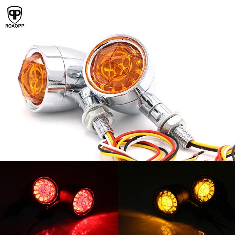 ROAOPP une paire moto balle diamant lentille LED clignotant indicateur lumière feu arrière lampe pour Harley Bobber chopper