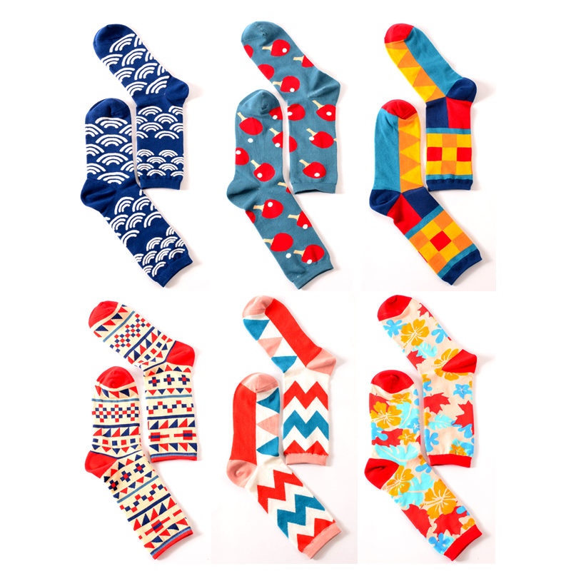 Dropshopping Happy Socks British Wind Geometry Hit Personality Hipster Women Men Socks Ping Pong Couple Cotton Funny Socks
