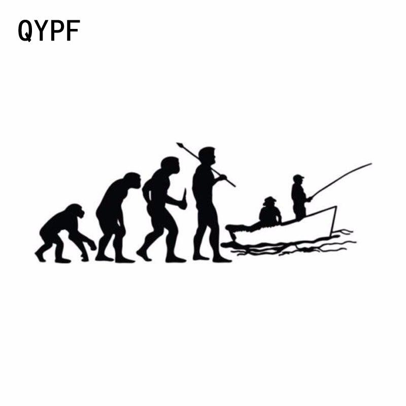 QYPF 15,2 см*5,5 см забавный автомобиль для укладки развивались рыбалку автомобиля наклейки черный серебристый С2-0010