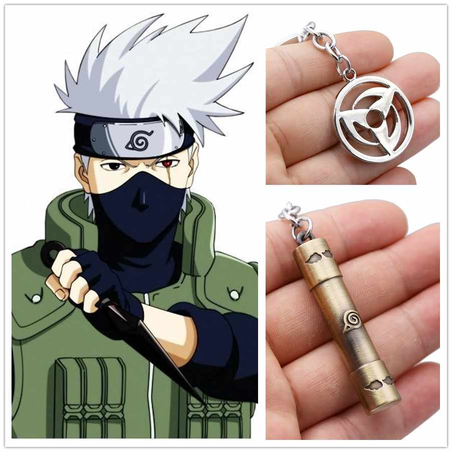 Anime Naruto badge keychain pendants Kakashi Sasuke Sharingan fashion novelty alloy cosplay keyrings badge adult kids unisex.