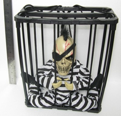 New Screaming Skeleton Prison In A Cage With Lights Talking Decoration