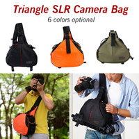 Fashion Waterproof Travel Small DSLR Shoulder Camera Bag with Rain Cover Triangle Sling Bag for Sony Nikon Canon Digital Camera
