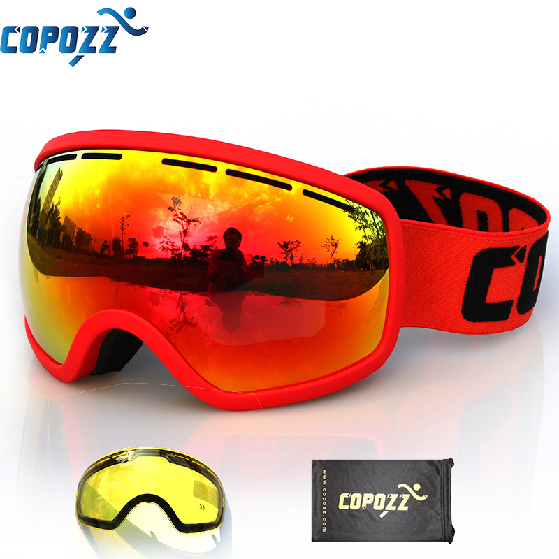 COPOZZ Brand Ski Goggles with Night Skiing Lens Double Lens Anti-fog Large Glasses Skiing Men Women Snowboard Goggles GOG-207 polisi winter snowboard snow goggles men women double layer large spheral lens skiing glasses uv400 ski skateboard eyewear