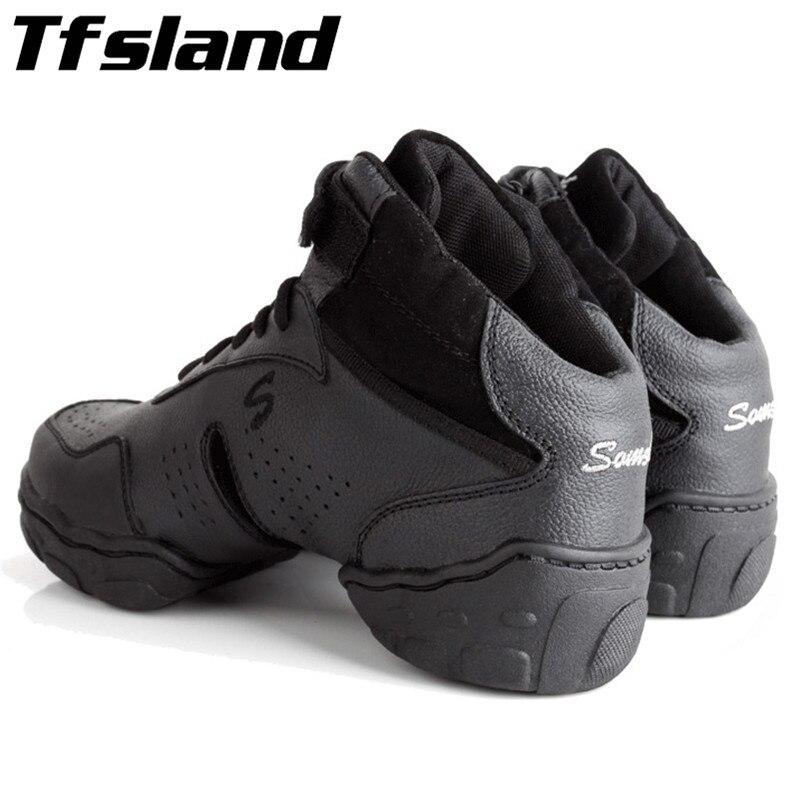 a311c7166d Tfsland Original em Preto Mulheres Homens Salsa Jazz Moderno Sapatos de  Dança de Couro Genuíno Respirável sapatos de Dança Suave Sneakers Plus Size  46 28 cm ...