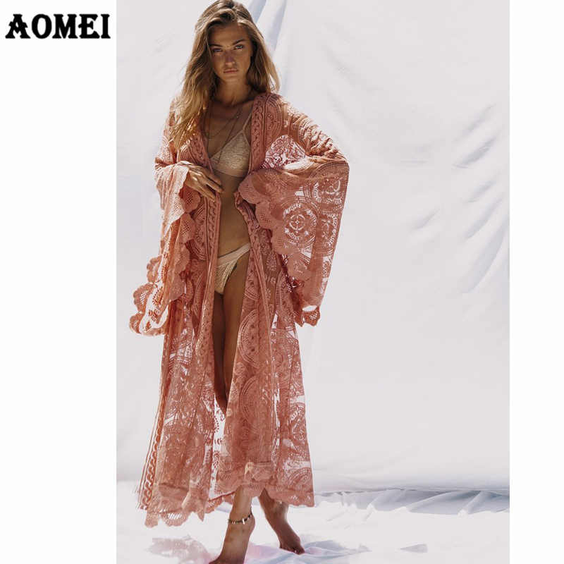 5640511b08a6d Detail Feedback Questions about Autumn Fashion Women Long Sleeve Lace Cardigan  Blouse Shirt Loose Maxi Kimono Long Jackets Beach See Through Cover Up Sexy  ...