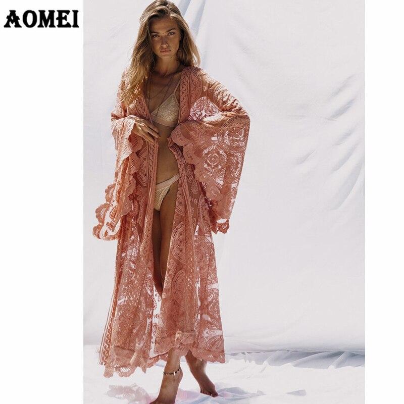 Otoño moda mujer de manga larga de encaje Cardigan blusa camisa suelta Maxi Kimono chaquetas largas playa ver a través de la cubierta Sexy tops-in Blusas y camisas from Ropa de mujer on AliExpress - 11.11_Double 11_Singles' Day 1