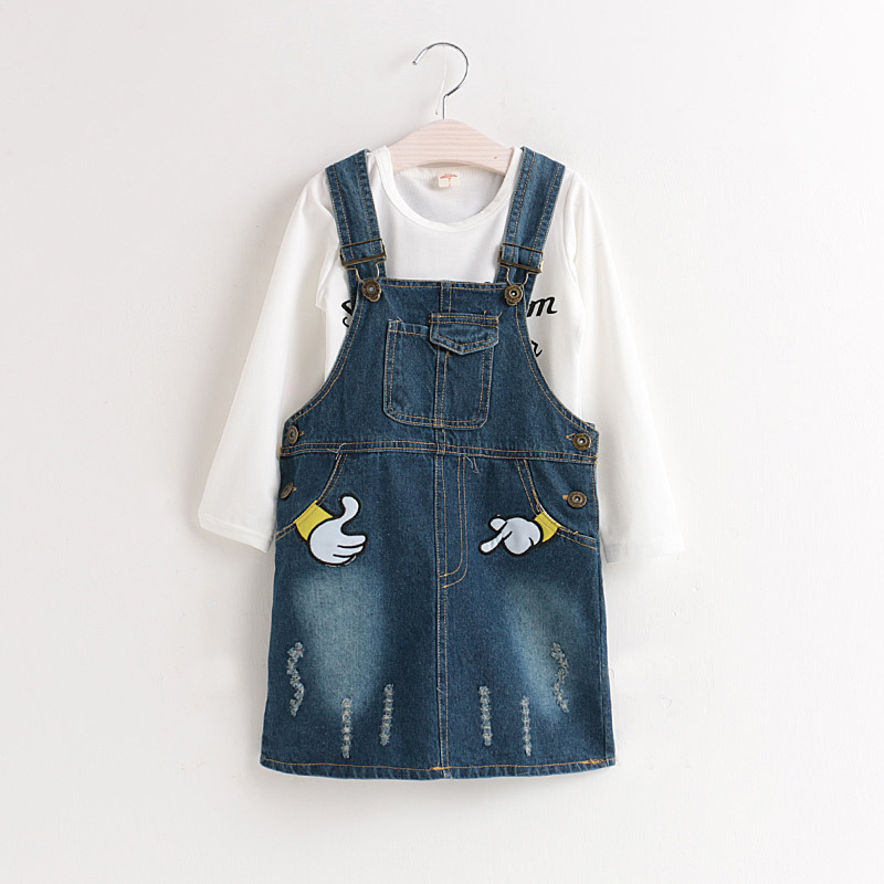 baby girl jean dress children clothing set child clothes suit 2pcs/set kids girls t-shirts & denim embroidery princess dresses fashion kids baby girl dress clothes grey sweater top with dresses costume cotton children clothing girls set 2 pcs 2 7 years