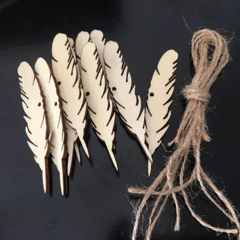 50 шт. пустой перо дерево подарок метки деревянные повесить с пеньковой веревки для винный декор свадьбы подарки искусств и ремесел