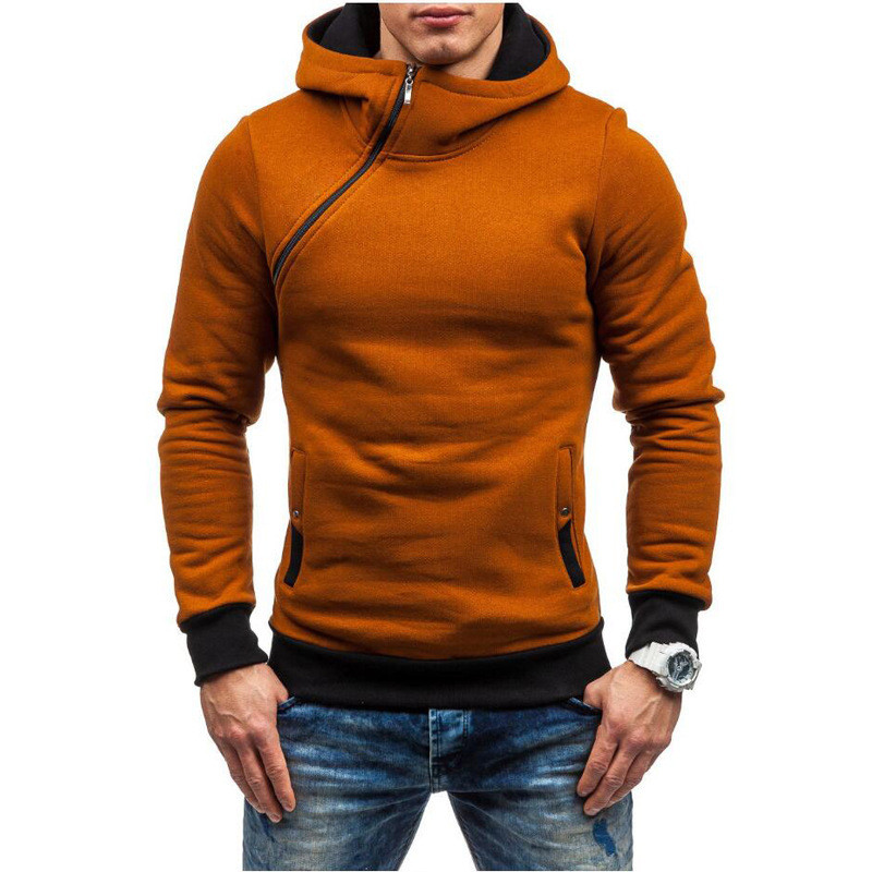 Sell like hot cakes Europe and the United States mens new winter hooded fleece collar men inclined zipper hooded fleece